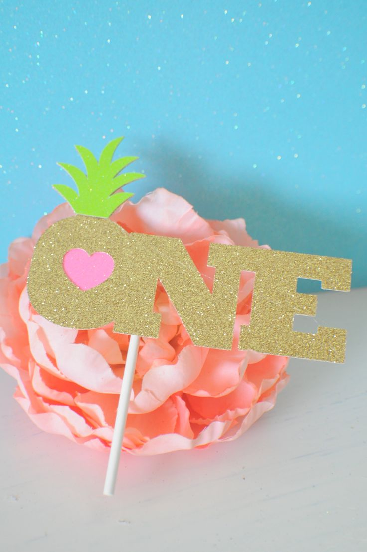 One cake topper, Hawaiian cake topper, luau cake topper, Luau party, Hawaii Party, Tropical cake topper, Aloha by SmashCaked on Etsy