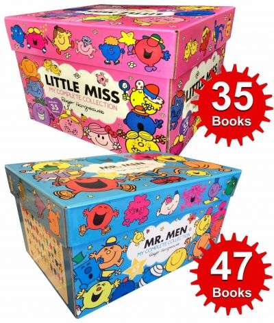 Mr Men & Little Miss 82 Books The Complete Collection Gift Set Titles in the Set Mr. Tickle, Mr. Greedy, Mr.Happy, Mr. Nosey, Mr. Sneeze, Mr. Bump, Mr Snow, Mr Messy, Mr. Topsy Turvy, Mr Silly, Mr. Uppity, Mr. Small, Mr. Daydream, Mr. Forgetful, Mr. Jelly, Mr. Noisy, Mr. Lazy, Mr. Funny, Mr. Mean, Mr. Chatterbox, Mr. Fussy, Mr. Bounce, Mr. Impossible, Mr. Strong, Mr. Grumpy, Mr. Clumsy, Mr. Quiet, Mr. Rush, Mr. Tall, Mr. Worry, Mr. Nonsense, Mr. Wrong, Mr. Skinney, Mr. Mischief, Mr. Cleve...