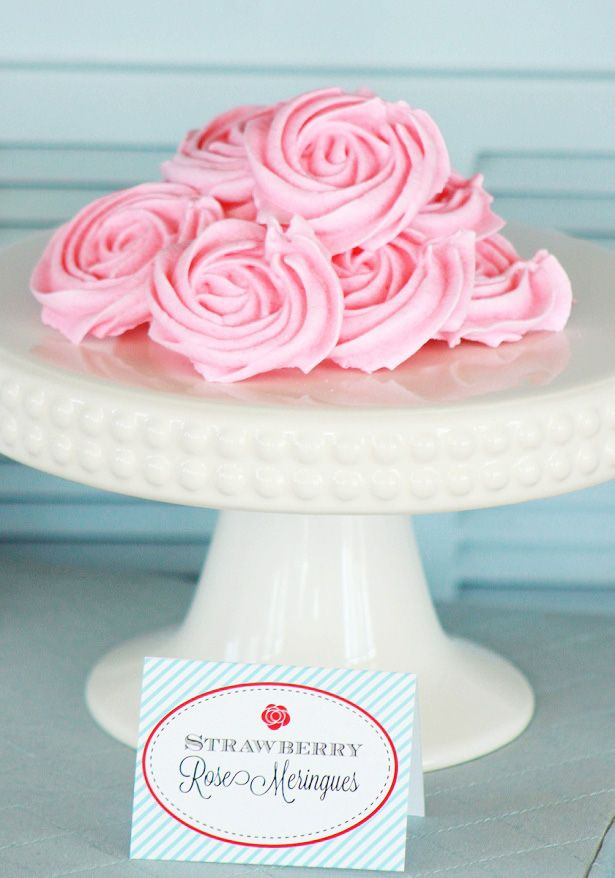 This easy, delicious, Strawberry Meringue Roses recipe is the perfect dessert for Mother's Day, Baby or Bridal Showers or a pretty Spring Birthday Party!  | @kimbyers TheCelebrationShoppe.com