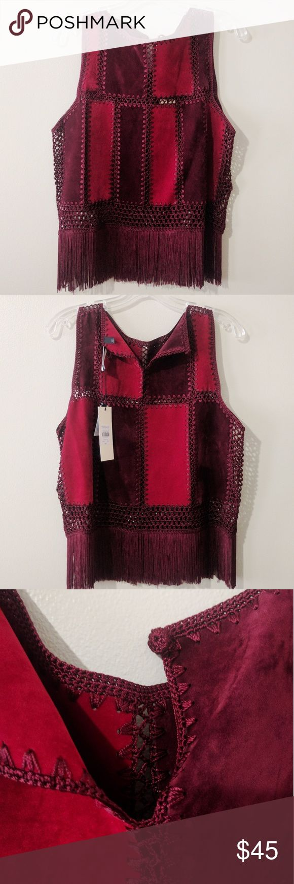 NWT Topshop Red Suedette Fringe Tank Top '70s inspired sleeveless tank. Featuring crochet and suedette panels for instant texture and finished with a fringed hem. 100% Viscose. Machine wash. Topshop Tops Tank Tops