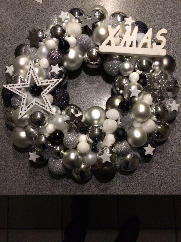 Kerst krans wit/zilver