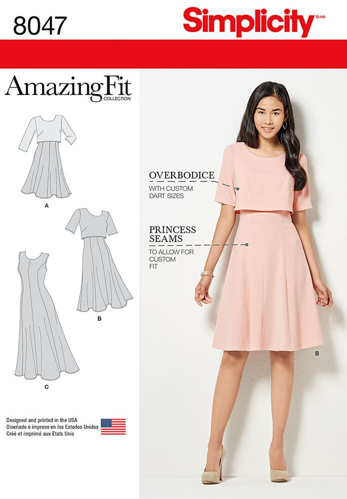 Misses or miss petite dress with pattern pieces for B, C, D, DD cup sizes in three lengths has sleeve variations and optional popover which can be made in contrasting or self fabric. Amazing Fit Collection by Simplicity