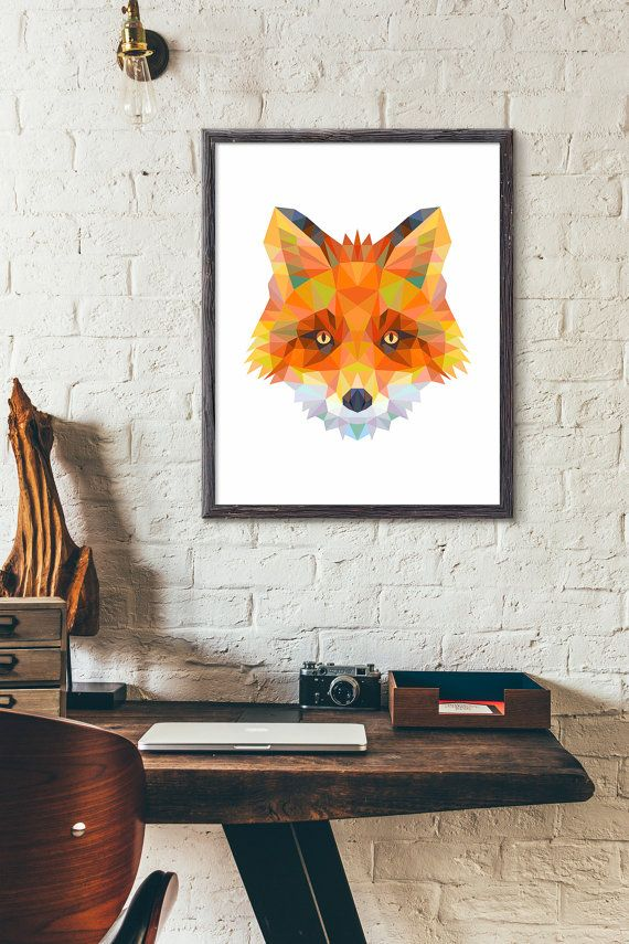 Polygonal Fox Etsy listing at https://www.etsy.com/listing/246181025/polygonal-fox-poster-animal-print