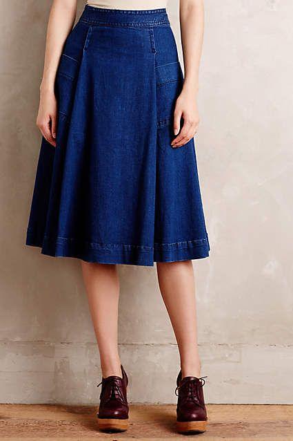 Cotton Chambray Circle Skirt - anthropologie.com @discovercotton #sponsored #shopcotton
