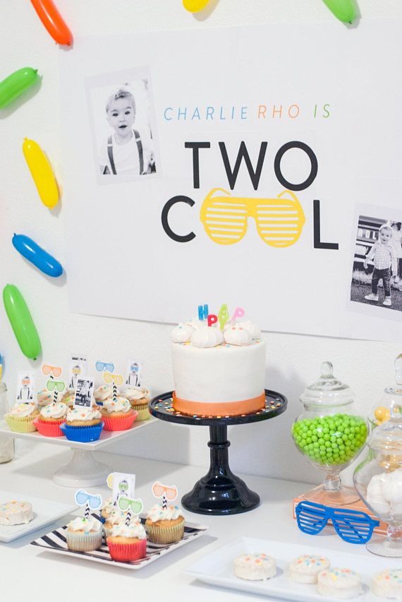 Two Cool Second 2nd Birthday Party Decorations Printe Boy