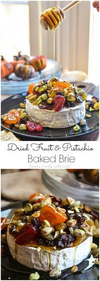 This Dried Fruit and Pistachio Baked Brie is an elegant and delicious appetizer recipe that is perfect for Thanksgiving, Christmas, and New Year's Eve. The dried fruit and pistachios are coated in a sweet drizzle of honey and placed on top of the melted brie to be served with bread and crackers. AD