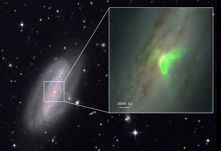 Imagen en color de la galaxia espiral barrada NGC 7582, que alberga un agujero negro escondido. Las observaciones de MUSE (en el recuadro) revelan emisión de un viento gaseoso caliente (en verde) que es ionizado y lanzado por el agujero negro. Créditos: imagen de fondo de Stefan Binnewies yJosef Pöpsel de Capella Observatory; imagen en el recuadro de Stephanie Juneau de NOAO y CEA-Saclay.