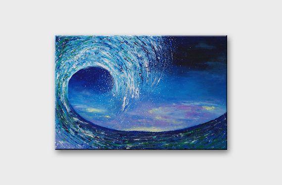 Original Wave painting on canvas / Blue Sea Ocean by AstaArtwork, $142.00