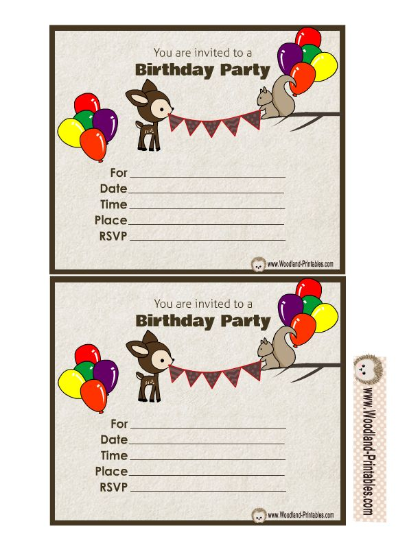 Free Printable Woodland Birthday Party Invitations Free Birthday