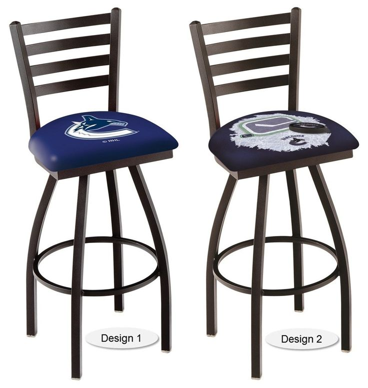 The Officially Licensed NHL Vancouver Canucks Bar Stool Carries A Defined Black Ladder Style