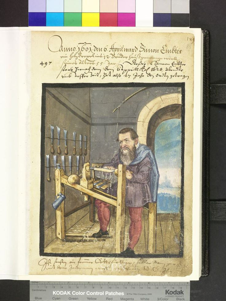 Dies ist ein Porträt eines deutschen Holzfällers aus dem frühen 17. Jahrhundert. Es ist aus einem Boo …