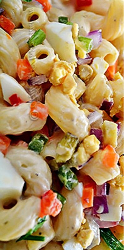 Amish Macaroni Salad ~ The recipe uses traditional flavors of old-fashioned Amish cooking like carrot, celery, pepper and onion. Combined with elbow macaroni and creamy dressing, it creates an Amish country fantasy dish!