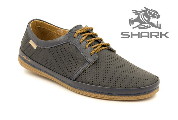 Летние мягкие мужские туфли SHARK T-409 navy