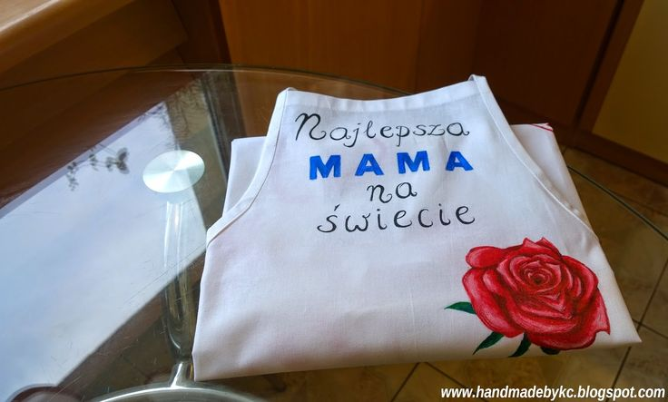 najlepsza mama na świecie, róża #diy #handmade ręcznie malowany fartuch kuchenny