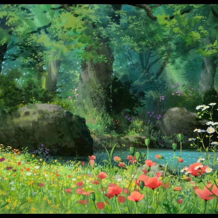 Anime forest background scenery bg concept ext green - Anime forest background ...
