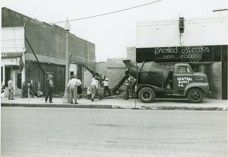 One of the first mixer trucks.