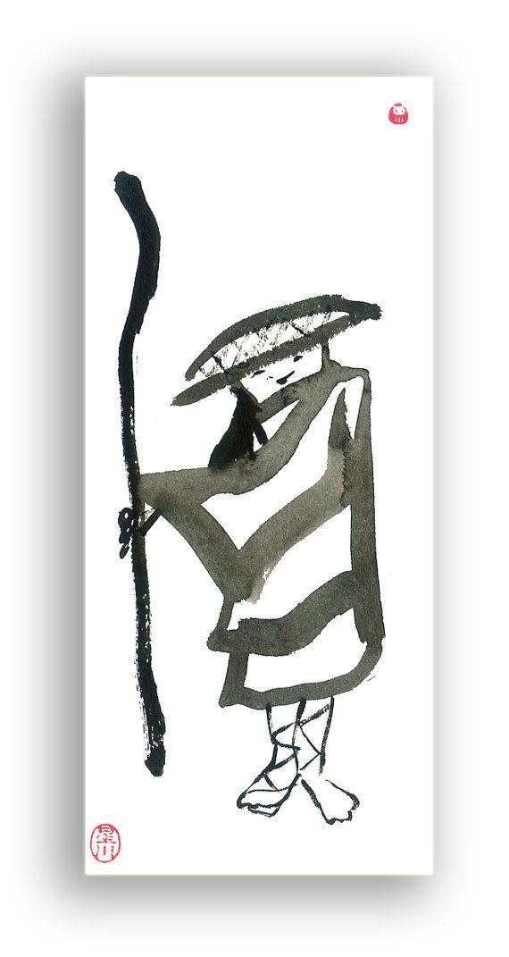 Jizo Buddha Traveling Samurai Monk Sumi Ink Zen Brush