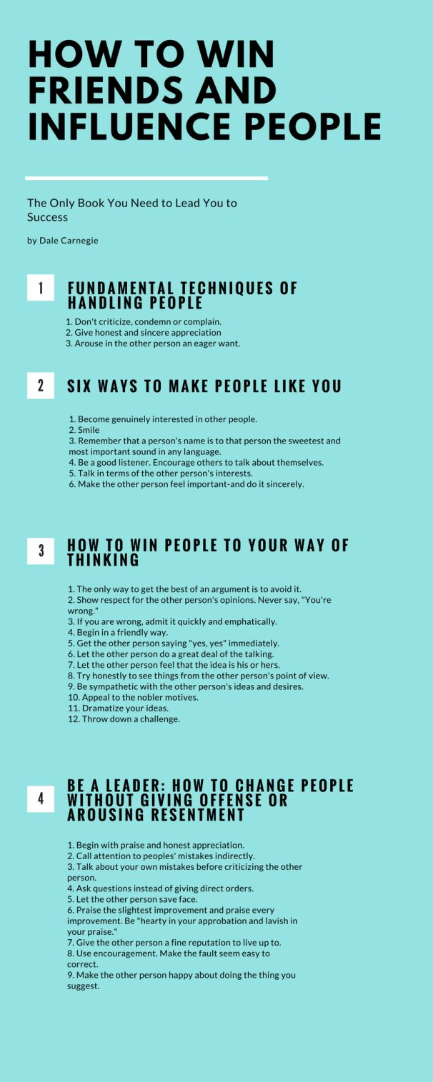 How to Win Friends and Influence People Infographic | ideas | Pinterest |  How to influence people, Personal Development and Leadership