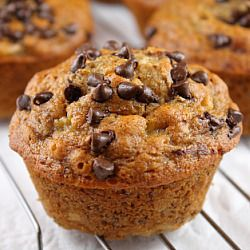 Healthy Banana Bran Chocolate Chip Muffins!
