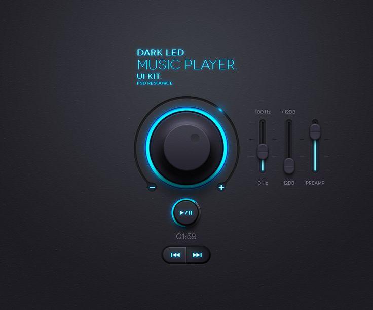 Dark Led UI kit  by Pixeden
