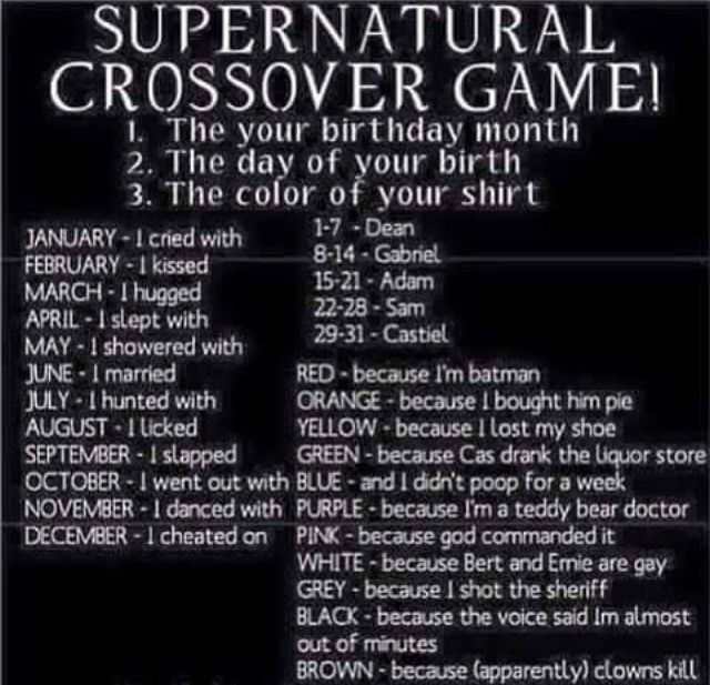 """My shirt is three colors so mine is """"I cried with Dean because I shot the sheriff because Bert and Ernie are gay and I didn't poop for a week."""