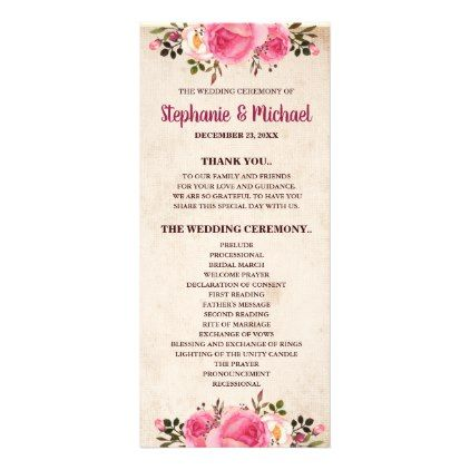 Rustic Country Classy Floral Wedding Program - autumn wedding diy marriage customize personalize couple idea individuel
