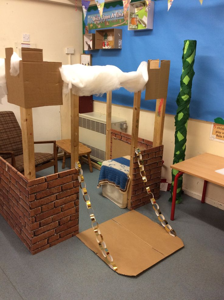Jack and the beanstalk themed home corner. The Giants castle as part of our traditional tales unit.