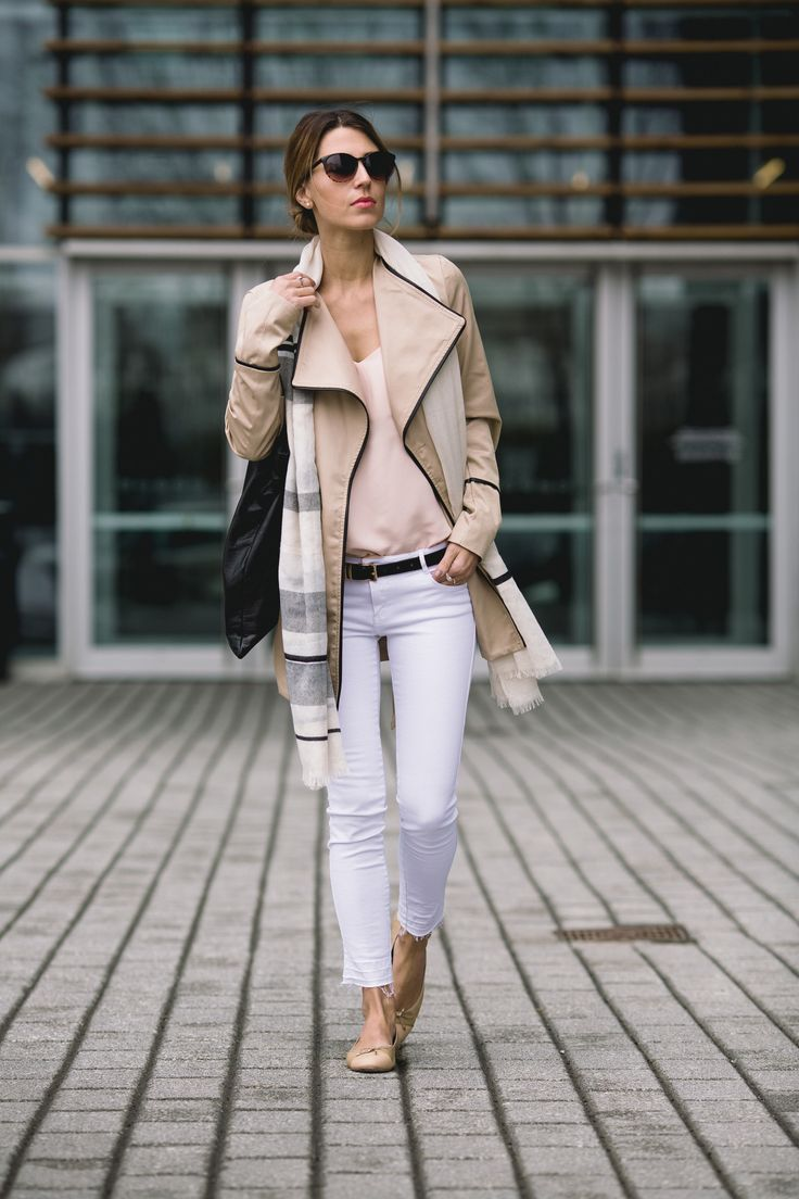 TVTM www.tvtmvirginie.com white skinny pants city look mtl trench coat coral cami shades classic look