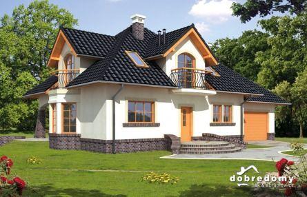 Taki fajny #projekt domu z poddaszem, z super dachem - ciemny kolor