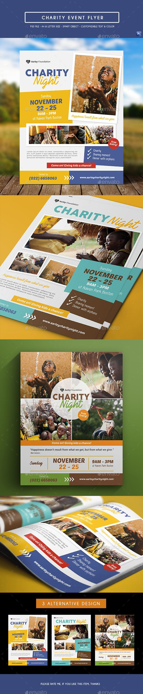 Charity Event Flyer — Photoshop PSD #donation #charity night • Download ➝ https://graphicriver.net/item/charity-event-flyer/19076696?ref=pxcr