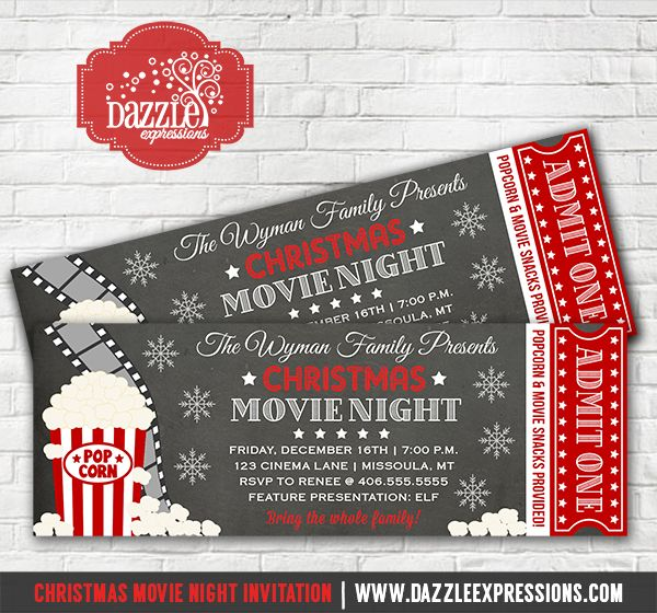 Printable Christmas Movie Night Ticket Invitation | Holiday Party Chalkboard Invitation | Hollywood Film | Winter Movie Party | Kids Birthday Party | Family Movie Night | Haunted House | Favor tags | Food Labels | Water Bottle Labels | Banner | Party Decorations Available |  www.dazzleexpressions.com