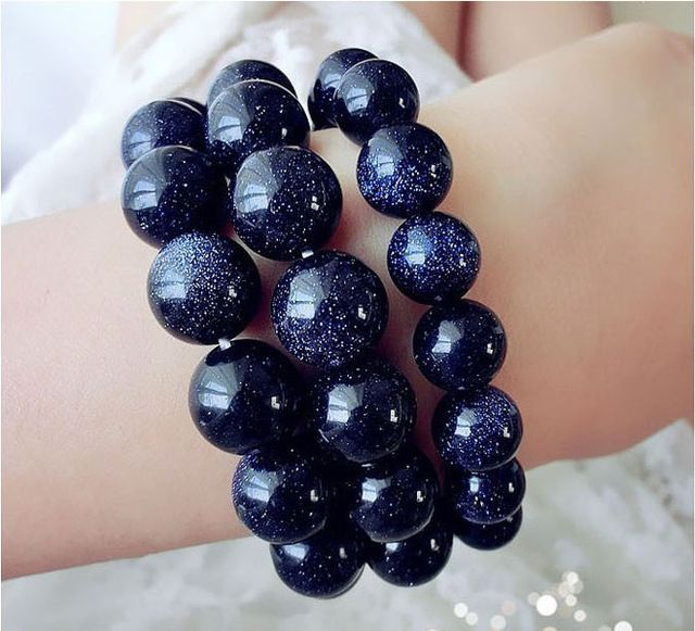 Natural blue sandstone beads bracelet handmade natural stone bracelet gift bracelet for women fashion jewelry