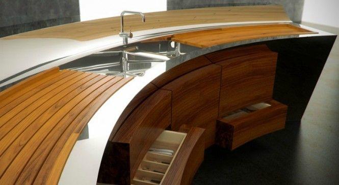 Curved kitchen steel worktop