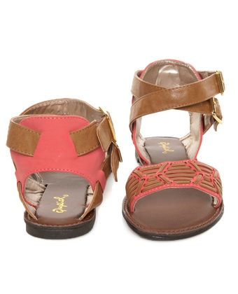 Qupid Athena 514A Tan & Coral Patterned Flat Sandals: 514A Tans, Shoes, Patterns Flats, Athena 514A, Flat Sandals, Coral Patterns, Patterns Sandals, Flats Sandals, Coral Sandals