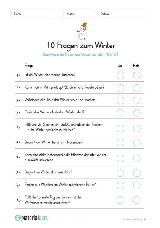 arbeitsblatt 10 fragen zum winter schule arbeitsbl tter deutsche schule und deutsch unterricht. Black Bedroom Furniture Sets. Home Design Ideas
