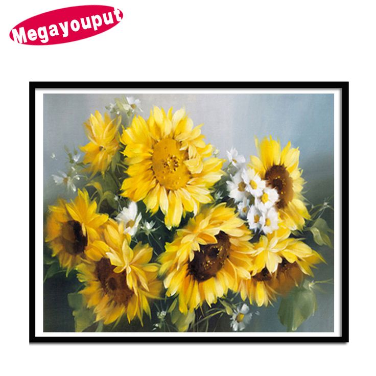 Megayouput diy diamond painting Cross Stitch kits Sunflower flower picture Diamond Embroidery mosaic pattern floral home decor #Affiliate