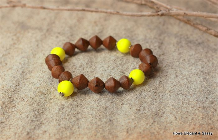 Swarovski Yellow Neon pearls, Wood, Sterling Silver, stretch bracelet - easy to wear with a gorgeous pop of colour