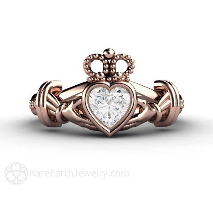 Claddagh Ring White Sapphire Engagement Ring Irish Promise Ring 14K or 18K White Yellow or Rose Gold by RareEarth on Etsy https://www.etsy.com/listing/186343368/claddagh-ring-white-sapphire-engagement