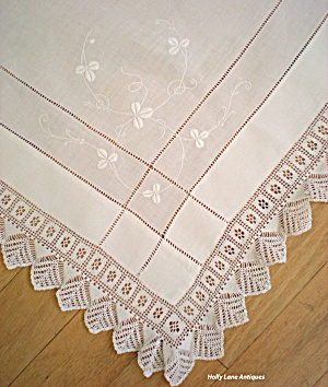 Antique Linen And Crochet Lace Tablecloth