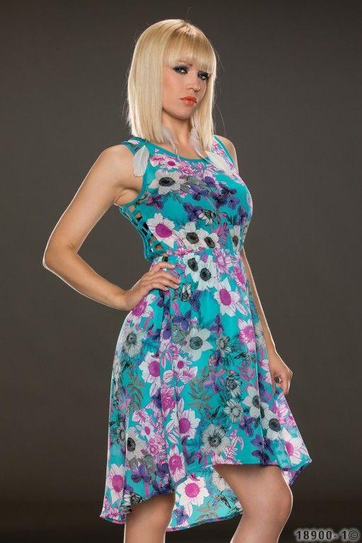Цветочное платье, синие - Короткие платья - Платья