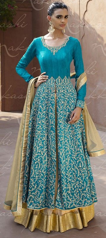 Sharar Salwar Suit by IWS 447577 Blue  color family Party Wear Salwar Kameez in Faux Georgette fabric with Machine Embroidery, Thread work .
