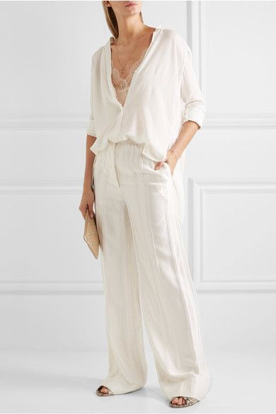 Blush silk-crepe, cream lace Slips on 100% silk  Dry clean  Made in Belgium