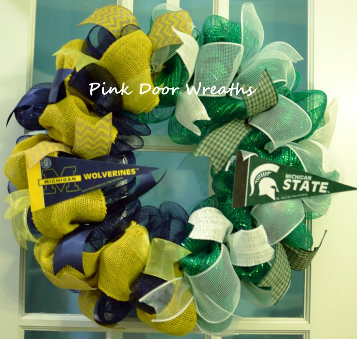 Made to Order - Wreath Door MICHIGAN State Spartans University of MICHIGAN Wolverines House Divided team sports mesh ribbons by PinkDoorWreaths on Etsy