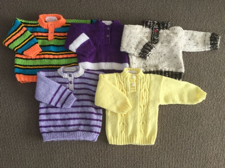 These cute wee jerseys were knitted for a charity organisation in New Zealand called Kiwi Family Trust who were trying to collect 1000 jerseys for under 4 year olds so they could distribute them to needy children this winter throughout NZ. These wee jerseys were mostly knitted out of my scrap wool pile and range in size from 6 - 18 months.