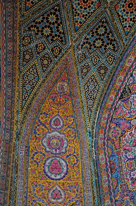 This appears to be another detail of the iwan of the Nasir al-Molk mosque in Shiraz, Iran