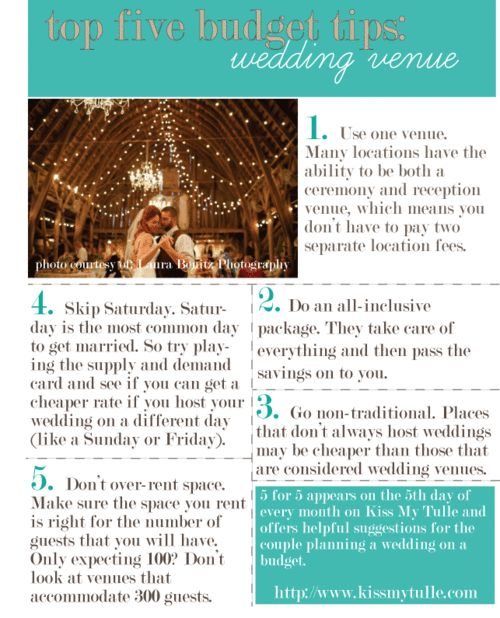 Top Five Budget Tips for the Wedding Venue
