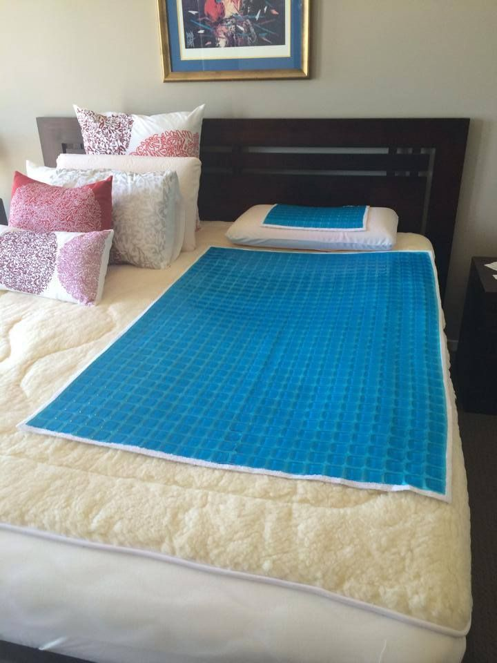 New to our range is the Gel Mat from Lorraine Lea Linen.  These cool down the hottest sleeper.  Thanks to fellow consultant Sharon Delany for sharing her husbands gel mat on their bed