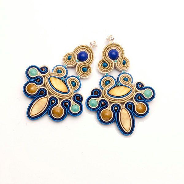 Chandelier bohemian earrings gold navy turquoise blue. Statement earrings soutache. Unique gift for boho women. Festival earrings fancy. (195.00 PLN) by MANJApl