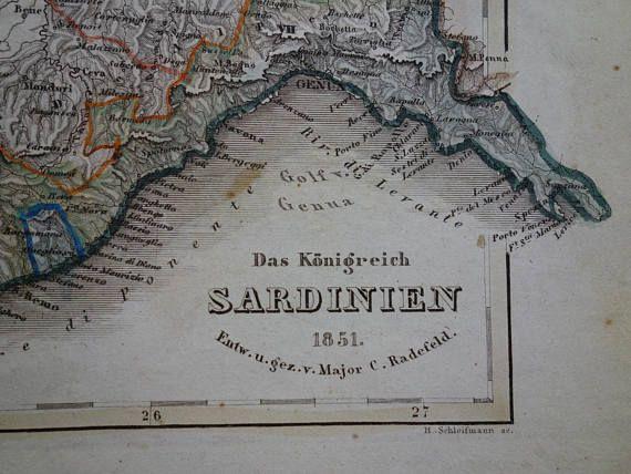 SARDINIA KINGDOM map of northern Italy 1851 original old