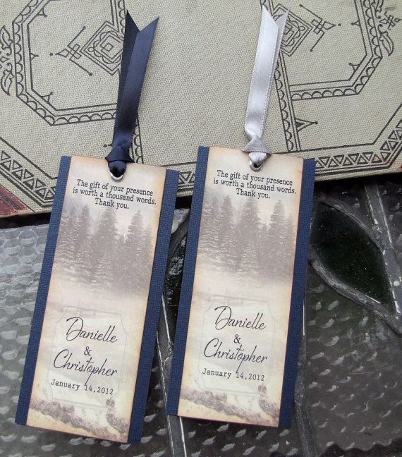 Bookmarks would be a great favor for a vintage book themed bridal shower! Favor Bookmarks  Rustic Winter by SunshineandRavioli, on etsy